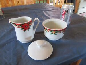VINTAGE CHRISTMAS CREAM AND SUGAR - REDUCED!!!!!