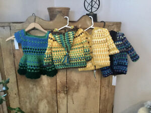 Handmade crochet baby/toddler sweaters, toddler dress