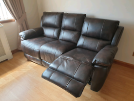 Recliner Sofa Couch Chair Real Leather Black Brown