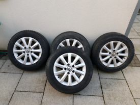VW alloys and tyres from 2007 Golf. 5x112. See pics & advert!