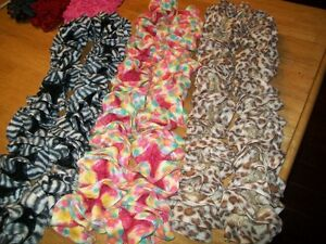hand knit ruffle scarves