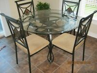 Glass top kitchen table set