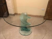 Dining table, round glass, swirl pedestal. 4ft (120cm).