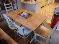 Beautiful shabby chic solid pine dining table and chair with bench