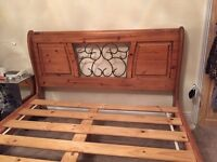 Pine sleigh bed - king size