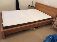 Double bed and nearly new mattress for sale