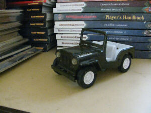 Tonka Military Jeep Pressed Steel With White Plastic Seats & Car
