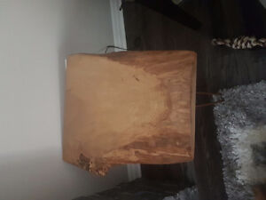 Real live edge wood end table.