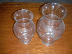 """Glass Vases 9"""" and 11"""""""