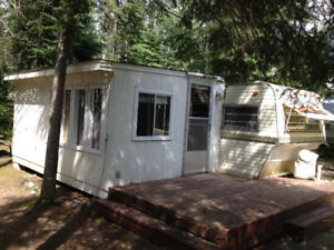 35 foot trailer,cabana,deck and shed