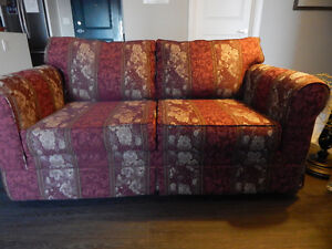 loveseat, chair & ottoman & slipcovers