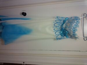 blue and white wedding prom beach party dress size 12 new