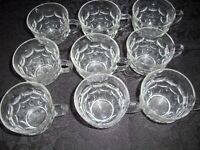 9 Antique PUNCH BOWL CUPS / MUGS THUMBPRINT Perfect!