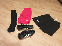Women's rugby cleats, compression shorts and socks, rugby shorts