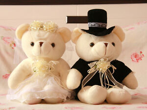 Teddy Bear Bride & Groom Wedding Bridal Couple Plush Set