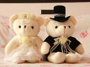 Teddy Bear Bride & Groom Wedding Bridal Couple Plush Set