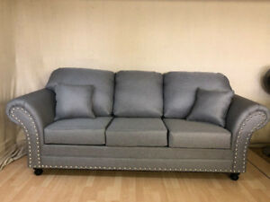 GREY-BRAND NEW CANADIAN MADE ELEGANT SOFA WITH SILVER STUDS