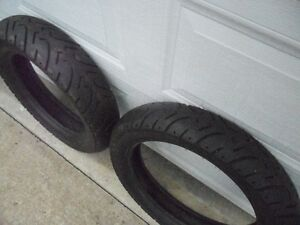 2 GOOD MOTORCYCLE TIRES LOTS OF MILES LEFT IN THESE.