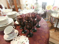 Set of Amethyst Glass Wine Goblets at KeepSakes Antiques