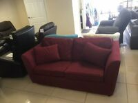 Brand New Designer 3 Seater Red Velour Fabric Double Sofabed