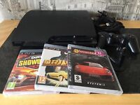 PlayStation 3 slimline 250 gig with 3 games and ear piece