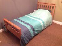 Solid oak single bed frame