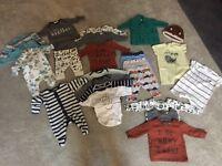Newborn and 0-3 months baby boy clothes bundle
