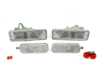 EURO CLEAR FRONT BUMPER SIGNALS  SIDE MARKER LIGHTS FIT FOR 89 90 NISSAN 240SX