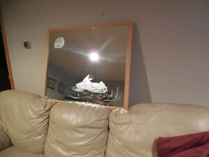 Vintage Wall Mirror W/ Polaris Snowmobile - Etched