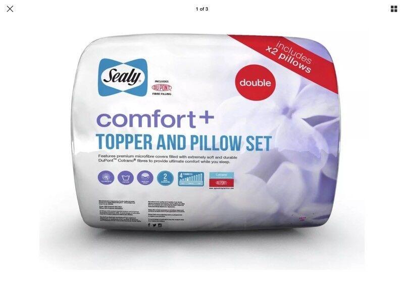 Sealy Comfort Plus Mattress Topper & Pillow Set Double