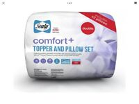 Sealy Comfort Plus Mattress Topper & Pillow Set Double