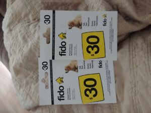 2 $30 FIDO top up cards