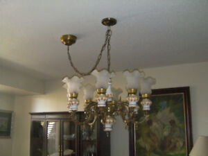 Gorgeous antique 1930 Victorian style bronze Chandelier