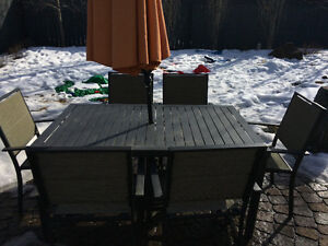 Outdoor dining table and chairs.