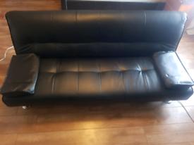 Black Leather QSize Sofabed Futon