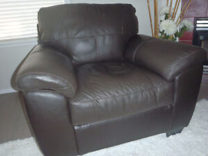 MUST SELL-BROWN LEATHER CHAIR & CHESTERFIELD GREAT BUY