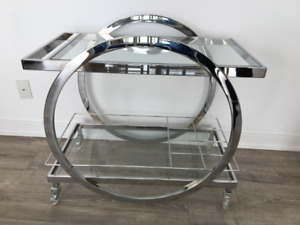 ELTE Albany Silver Bar Cart with Wheels - Chic Chrome Accents