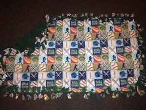 Baseball handmade fleece blanket-green back
