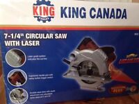 Brand new circular saw with laser