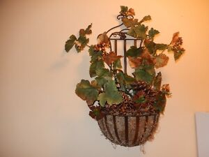 wall basket with fake plant