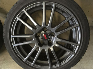 ENKEI Gunmetal WRX STi 18x8.5 Rims and Tires