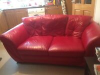 Italian Red Leather Sofa