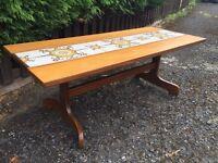 Retro Vintage Solid Teak / Tiled Coffee Table G plan era - CAN DELIVER