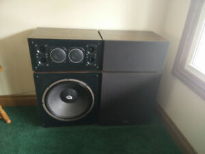VIVID Stereo loudspeakers,  and Fisher stereo in cabinet.