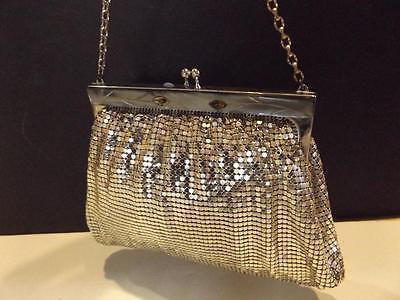 WHITING & DAVIS Vintage Antique Silver Metal Mesh Evening PURSE Handbag and