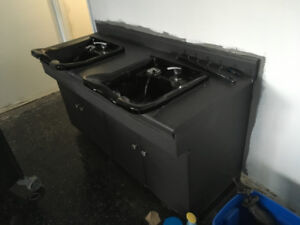 Double Hairdresser Sinks w/ counter and storage