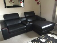 **PERFECT CONDITION** Black & Red Leather corner sofa with reclining ends and SOUND BLOCK WEDGE