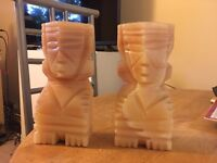 Carved Aztec Style Bookends - Pair