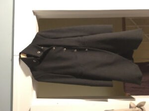 Tailored mid length women's coat with military style - sz xs/s
