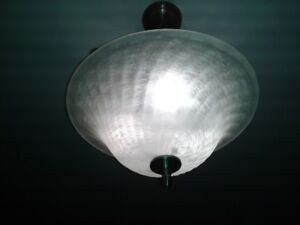 "2 Ceiling Lights, 16""&14"" Glass Shell Style, 3 bulb inputs, Mint"
